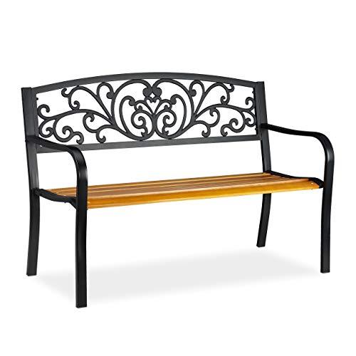 relaxdays Panchina da Giardino, Arredo da Esterno in Legno & Metallo, Design Rustico, HLP: 86,5x127x59 cm, Marrone/Nero, Acciaio, Legno, colata