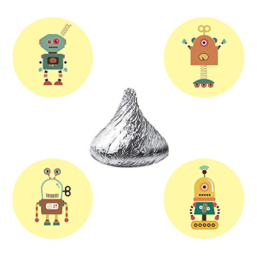 MAGJUCHE Robots Candy Stickers, Boy Girl Robot Themed Baby Shower or Birthday Party Favor Labels, Fit Hershey's Kisses, 304 Count