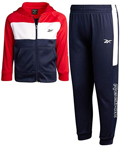 Reebok Little Boys 2-Piece Athletic Tricot Tracksuit Set with Zip Up Jacket and Jog Pants, Size 3T, Red/Color-Block