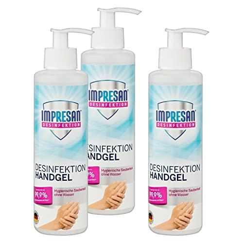 Impresan Hände Desinfektions-Gel 250 ml: Hand-Reinigung im praktischen Spender für Zuhause - gegen Bakterien und Viren, 3er Pack im praktischen Vorteilspack