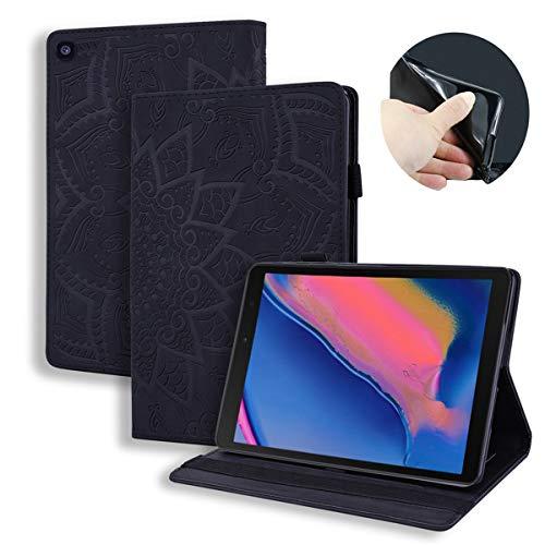 LUSHENG Galaxy Tab A 8.0 & S Pen (2019) 3D Relief Sculpture Sun Flower Flip Wallet Case, 360° Coverage Protective Case Cover for Samsung Galaxy Tab A 8.0 & S Pen (2019) 8.0' - Black
