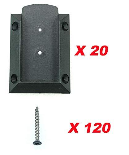 KASTFORCE KF4011 20pcs Deck Railing Brackets Connectors for 2x4 (1.5x3.5) Railing Wood Post with 120pcs Black Coating Stainless Screws