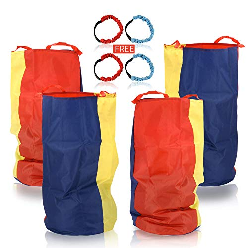 Cwmxing Potato Sack Race Bags 34' Hx20 W(Pack of 4) with Three-legged Race Outdoor Activities for Family Gatherings Games