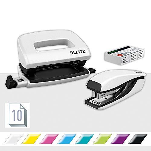 Leitz NeXXt Mini-Locher- und Heftgerät-Set für bis zu 10 Blatt, Inkl. P2 Nr. 10 Heftklammern, perlweiß, WOW, 55612001