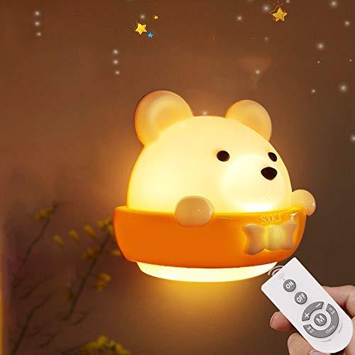 Luz Nocturna Infantil, Luz Mesita de Noche Infantil, Luz Nocturna Bebé,lámpara infantil LED Lámpara de Noche de Carga USB Portátil Luz Amarilla Para Leer, Luz de Noche Para Bebés en el Dormitorio