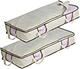 Misslo Jumbo Under The Bed Organizer for Comforters, Sturdy Oxford Fabric Blanket Storage, Set of 2