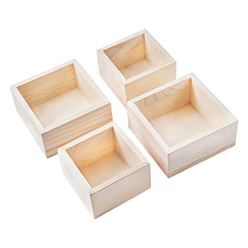 PandaHall BurlyWood - Caja de madera cuadrada de 2 tamaños, caja de madera rústica natural, organizador de almacenamiento para plantas de suculentas, coleccionables, decoración del hogar