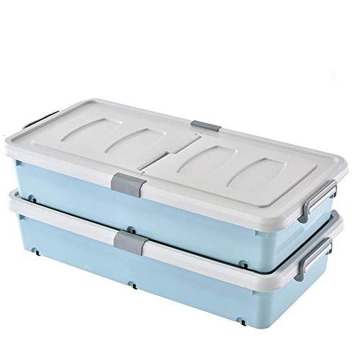 unter Dem Bett Aufbewahrungsbox, Kunststoff Kleiderschrank Desktop Office Aufbewahrungsbox Bücher Snack Decke Superimposable Wasserdicht, DTTX001, Blau