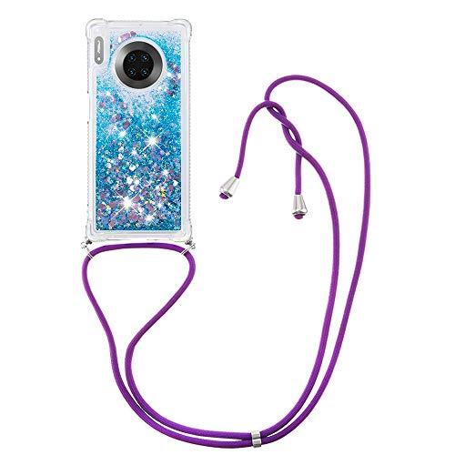 Flüssig Treibsand Silikon TPU Bumper Hülle (Mit Lanyard )für Huawei Mate 30 Pro (Blaue Liebe)
