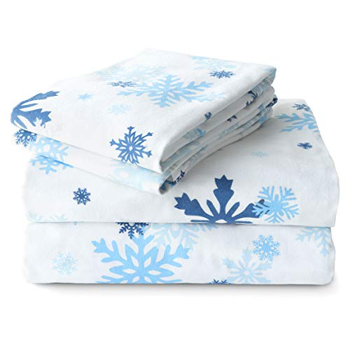 JumpOff Jo Flannel Sheet Set, Queen, Snowflake