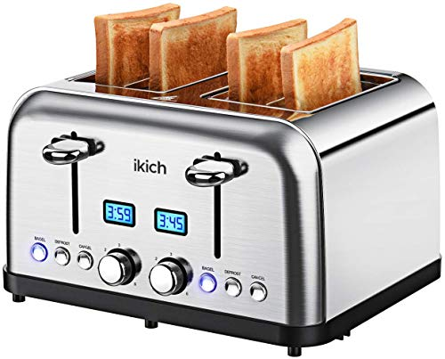 Toaster 4 Slices, IKICH, 2 LCD Timer Display, Stainless Steel 4-Slice Toaster, 6 Variable brownings/High-Lift/Automatic Wide Slots, 1750W/Silver CP179AS