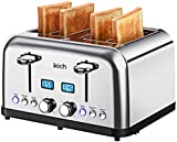 Toaster 4 Slice IKICH, High Gloss Brushed&Polished, Stainless Steel 4-Slice Toaster[2 LCD Timer Display], 6 Variable brownings/High-Lift/Automatic Wide Slots, Defrost/Reheat/Bagel/Cancel, 1750W/Silver