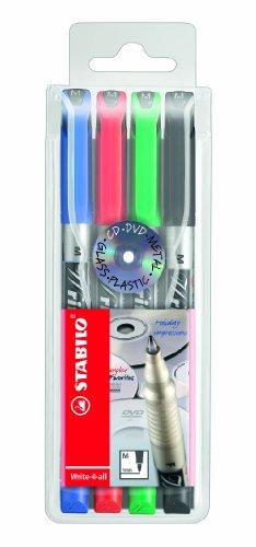 Permanent-Marker - STABILO Write-4-all - medium - 4er Pack - blau, rot, grün, schwarz