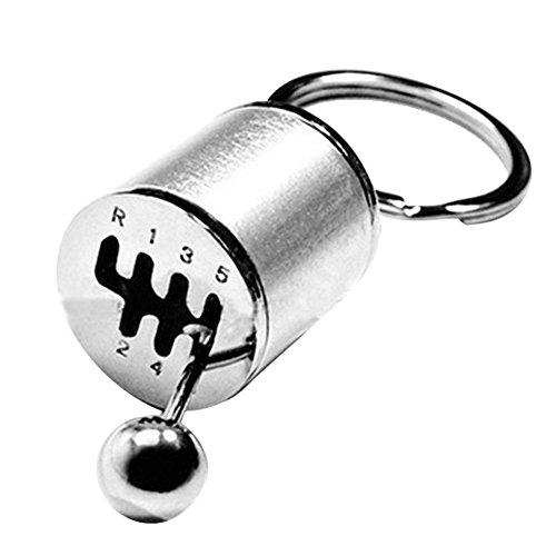ieenay Schlüsselanhänger Ring Schlüsselanhänger Kreativ Auto 6 Gang Getriebe Schaltgetriebe Racing Tuning Modell Keychain, silber