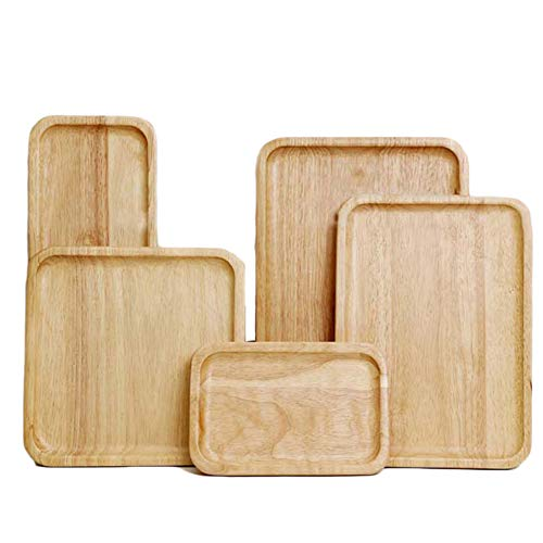 Rectangular wooden tray - simple tray as decoration - table decoration and room decoration - nature,Gummiholz,35X25X2cm