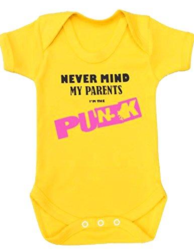 Body para bebé de BABY MOO'S, con diseño «Never Mind Punk» en inglés, ideal para regalo amarillo amarillo Talla:3-6 meses