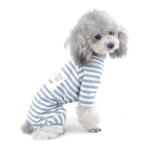 SELMAI Haustier-Shirt für Yorkshire Terrier Bunte Streifen weiche Baumwolle atmungsaktiver Schlafanzug große Katzenbekleidung Nachtwäsche Outfit einfach anzuziehen Grau S