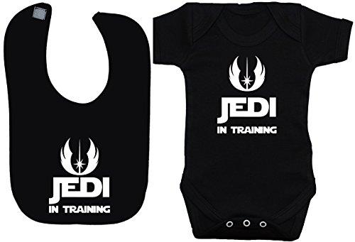 Jedi in Training Acce Baby Body Vest/T-Shirt & Bavoir Star Wars 0 à 12 mois, Noir, XX-Small