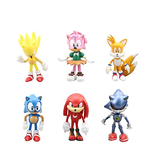 REYOK Sonic Cake Topper Pastel Decoración Suministros 6Pcs Sonic Figures Toy Sonic The Hedgehog Juguetes Muñeca Hecha a Mano Muñeca Decoración para niños Animales Juguetes Set