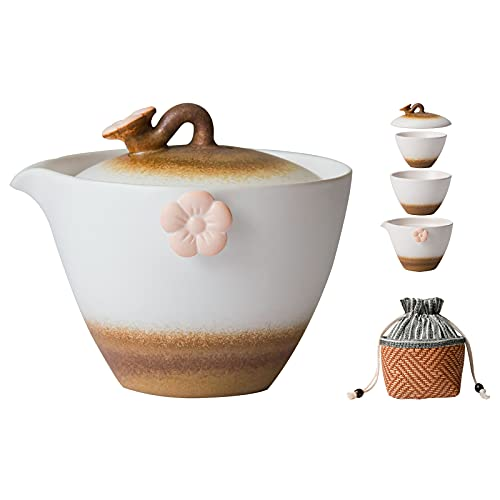HEER Portable Travel Tea Sets for women, Porcelain Teapot for Adults, Ceramic Tea Set for Two, Cute Tea Pot with 2 Cups for Outdoor Picnic Business Hotel. (yellow-white)