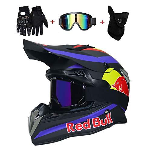 OUTLL Motocross Helm Set, mit Brille/Maske/Handschuhe, Erwachsene Offroad Motorrad MTB BMX Enduro Helm Bergab Quad Fahrrad Absturz Helm, DOT Zertifizierung (Color : Dumb Black Blue, Size : S/54-55CM)