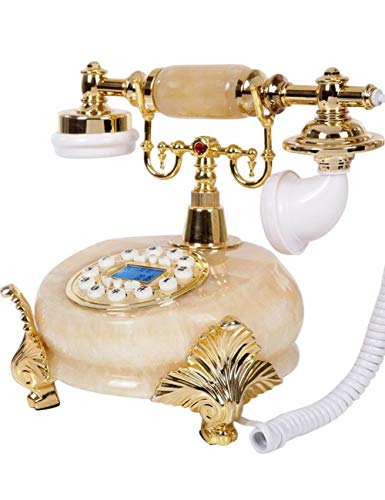HGJSMN Teléfono antiguo, mármol artificial de superficie retro de la línea horizonte de la casa del microteléfono del teléfono, cable Máquina de oro de moda clásico de los 60 Dial escenógrafo retro de