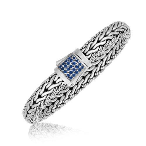 Diamond2Deal Bracelet tressé en argent sterling avec saphir bleu pour homme et femme.