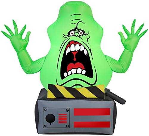 Gemmy Airblown Slimer Ghost on Ghost Trap Ghostbusters, 3.5 ft Tall,...