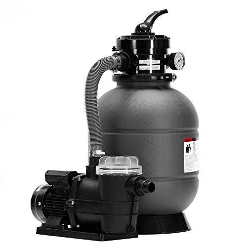 AREBOS Sandfilteranlage mit Pumpe | 400W | 10200 L/h | Tankvolumen bis zu 20 kg Sand | 4 - Wege Ventil mit Griff | mit Druckmanometer | Grau