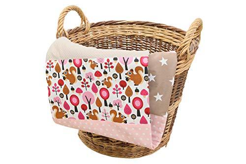 ULLENBOOM ® babydeken I deken voor baby's l 70x100 cm, ideaal als kinderwagendeken of als speeldeken I zand eekhoorntjes