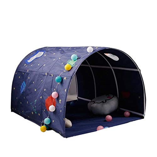 CSQ Pink and Blue Bed Tent, Indoor Round Dome Play Tent Sleeping Tent Play Tent with Toy Storage Bag - 100 * 140 * 80CM Children's play house (Color : Blue, Size : 100 * 140 * 80CM)