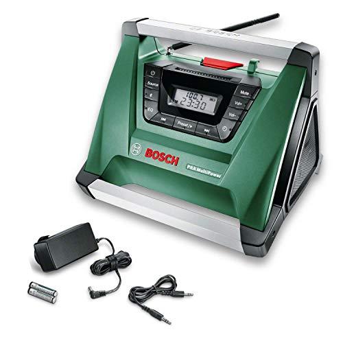 Bosch PRA Multipower - Radio a batería, sin batería, Cable Aux-In, fuente de alimentación, 2 pilas AAA (18V, Gama de radiofrecuencia AM 522 – 1.611 kHz)