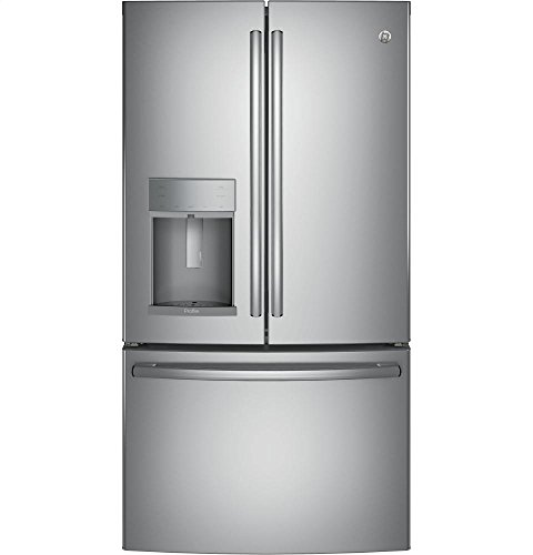 GE Profile PFE28KSKSS 36' Freestanding French-door Refrigerator with 27.77 Cu. Ft. Capacity TwinChill evaporators Advanced water filtration and Quick Space shelf in Stainless steel