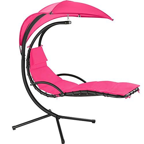 TecTake 800783 Hängeliege mit Gestell, Schwebeliege mit Sonnenschirm, Indoor & Outdoor, inkl. Polsterauflage mit Kopfkissen, für Garten, Terrasse und Balkon - Diverse Farben - (Pink | Nr. 403435)
