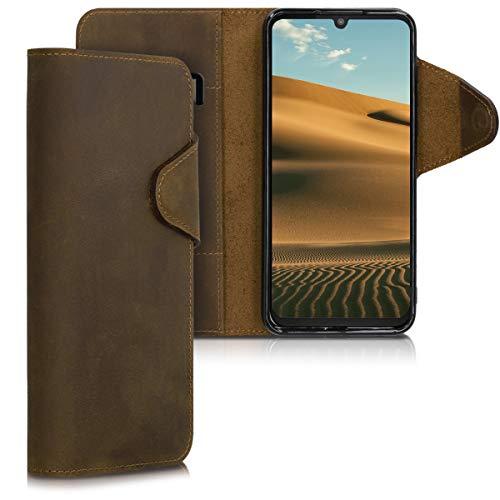kalibri Motorola One Zoom Hülle - Leder Handyhülle für Motorola One Zoom - Braun - Handy Wallet Case Cover