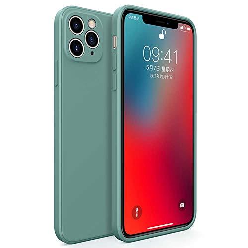 Yesun K Classic Straight Edge iPhone 11 Pro Max Liquid Silicone All-Inclusive Lens Cube Square Phone Case (verde oscuro, iPhone 11 Pro Max)