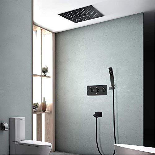 KAIBINY Negro oculta ducha grifo de la ducha empotrar en la pared Pre-incrustado caliente y la válvula de control de luz fría LED de la cascada de lluvia Tipo de pulverización ducha hermoso determinad