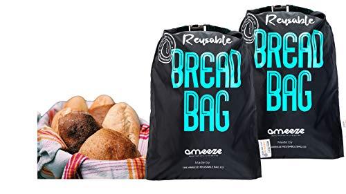 Ameeze - Brotbeutel aus ÖKO TEX® 100% Recycling Polyester – der Brotsack ist wiederverwendbar zur Aufbewahrung zum Frischhalten und Einfrieren geeignet (2er Set - schwarz)