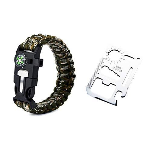 HEECN Multifunktionellt ficköverlevnadsverktygskort och överlevnadsarmband set (kamouflage)