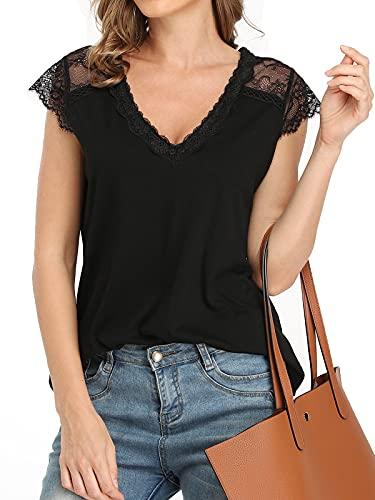 T-Shirt Damen Oberteile Top V-Ausschnitt T Kurzarm Tee Shirts Spitze Sommer Blusen