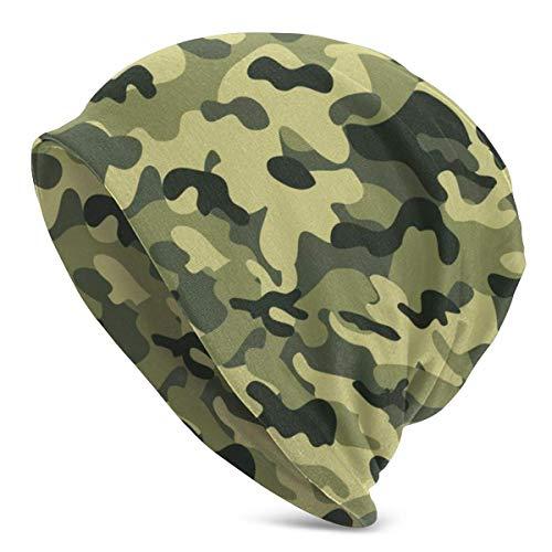 XCNGG Gorros de Punto de Fondo de Camuflaje Verde para Hombres y Mujeres Sombreros de Invierno Gorras de Cobertura
