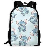wobuzhidaoshamingzi Mochila Casual Cute Cartoon Stitch Print Zipper School Bag Mochila de Viaje Mochila