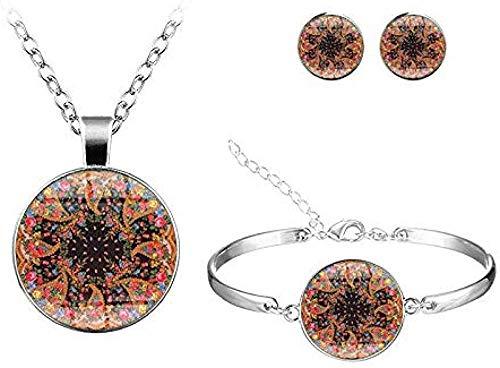 BACKZY MXJP Collar Clásico Multicolor Mandala Conjuntos De Flores Joyas Hecho A Mano Patrón De Vidrio Redondo Collar Pulsera Pendientes Conjuntos De Joyas Om Collar