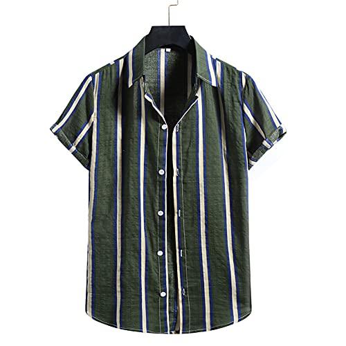 Manga Corta Hombre T-Shirt Verano Clásica Moda Hombre Cuello Kent Hawaii Camisa Botón Placket Playa Camisa Sueltas Vacaciones Transpirable Secado Rápido Hombre Deportiva Camisa H-Multicolor 8 XXL
