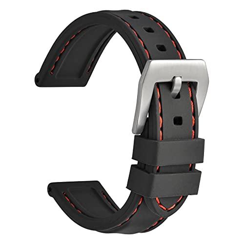 WOCCI 22mm Impermeable Correa de Reloj de Silicona para Hombres con Hebilla Plateada (Negro)