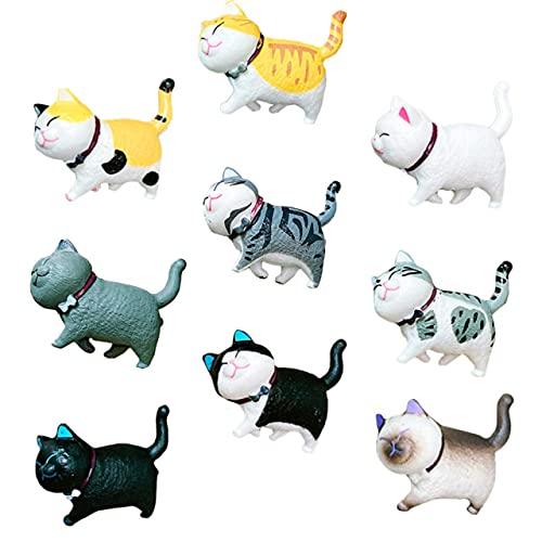 RichAmazon 9PCS 3D lindo gato en forma de imán magnético refrigerador animal refrigerador imán-gris negro