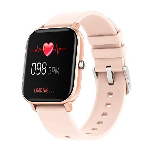 UIEMMY Reloj Inteligente de 1,4 Pulgadas para Hombre, rastreador de Actividad física de Toque Completo, Reloj Inteligente para Mujer, Reloj Inteligente GTS para Xiaomi, Oro Rosa