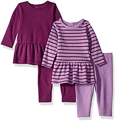 Hanes Ultimate Baby Flexy Set-2 Long Sleeve Dresses with 2 Leggings, Purple Stripes, 12-18 Months