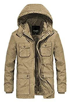 JYG Men s Winter Thicken Coat Casual Military Parka Jacket with Removable Hood  XX-Large Khaki