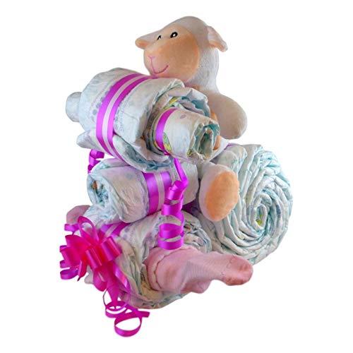 Tarta de pañales estupenda para sorprender a los futuros padres esta compuesta por: 27 pañales Dodot talla 3 (4 a 10 kg) 1 par de calcetines, 1 body 1 Peluche de suave tacto con forma ovejita 15 cm Te la enviamos envuelta en un lindo papel celofán, d...